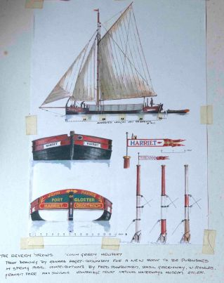 Drawing of Severn Trows (wych barges) from Max Sinclair archive